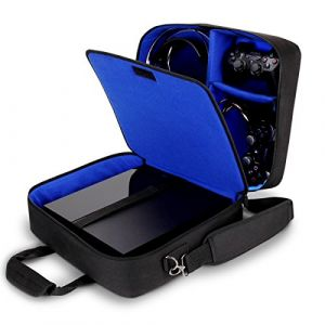 GOgroove USA Gear Housse Sac de Console, Sangle d'Epaule Ajustable & Compartiments Personnalisables - Compatible avec Xbox One, Xbox One X/S, Xbox 360, Playstation 4 Pro, Playstation 4, Playstation 3 - Bleu