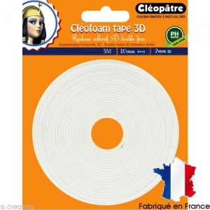 Cleopatre SCRAP-RM2X5 - Cléofoam Tape 3D - Rouleau Adhésif Double Face Colle Transparent