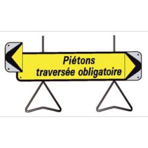 Taliaplast 526014 - Panneau signalisation piétons traversée obligatoire avec flèche amovible kd t1 1000x300mm