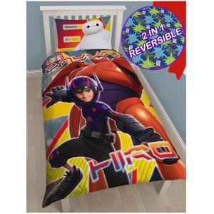 Character World Les Nouveaux Héros Hiro et Baymax - Housse de couette et taie (135 x 200 cm)