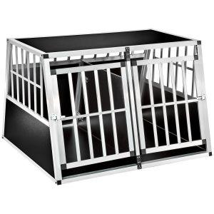 TecTake Caisse de transport pour chiens double en aluminium avec 1 cloison