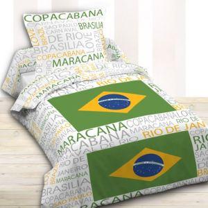 Today Brésil - Housse de couette et taie 100% coton (140 x 200 cm)