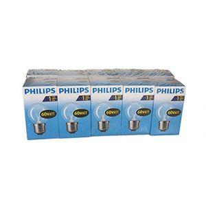 Philips Ampoule à incandescence en forme de goutte, 60 W, E27, Clair, 10
