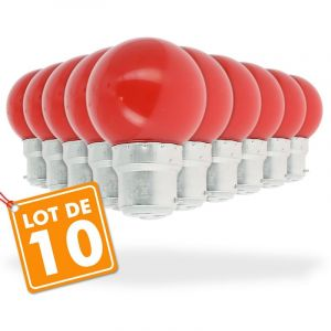 Eclairage design Lot de 10 Ampoules Led Rouge 1 watt (équivalent à 10 watt) Guirlande Guinguette