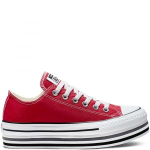Converse Chaussures casual Chuck Taylor All Star basses en toile EVA Layers Plateforme Rouge - Taille 37,5