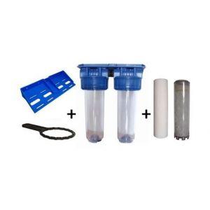 """Toodo Double porte filtre à eau 9""""3/4 - 26/34F avec cartouche 20µm + Polyphosphate"""