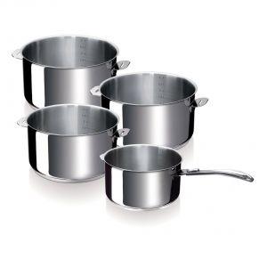 Beka Série de 4 casseroles Evolution en inox 14/16/18/20 cm