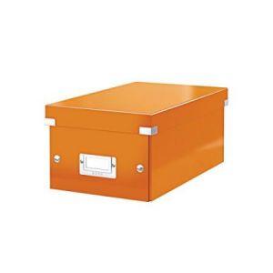 Leitz 6042-00-44 - Boîte de rangement Click & Store, format DVD, en PP, coloris orange métallique