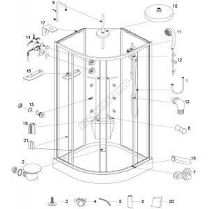 Alterna 481197 - Tuyau PVC pour alimentation douche de tête et jets massants pour cabine hydro (180 cm)