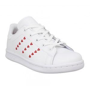 Adidas Stan Smith cuir Enfant-31-Blanc Rouge
