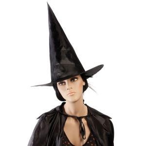 Chapeau de sorcière tissu noir adulte