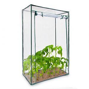 Relaxdays Serre pour tomates jardin pvc terrasse portable avec porte fermeture enroulable, vert