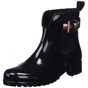 Tommy Hilfiger Corporate Belt Rain Boot, Bottes & Bottines de Pluie Femme, Noir (Black 990), 40 EU