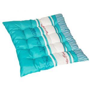 Jardin prive Assise de chaise ou fauteuil futon carrée Fouta - 16 capitons - 46x46x6 cm - Bleu - Dimensions : 46x46x5 cm - Coloris : Bleu turquoise et blanc - Réversible - 2 faces imprimées