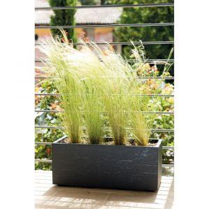 Deroma Pot de fleur Muret Gravity avec réserve d'eau 59 cm - Gris carbone