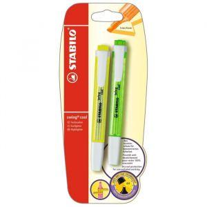 Stabilo Swing cool - lot de 2 surligneurs - jaune + vert