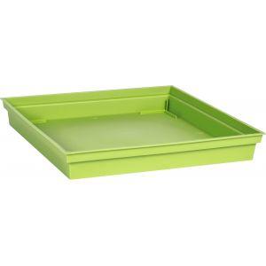 Eda Plastiques Soucoupe plastique carré toscane pot carré 22 l vert matcha l. 26,7 x l. 26,7 cm