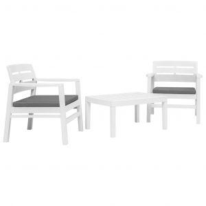 VidaXL Ensemble de mobilier de jardin 3 pcs Plastique Blanc