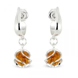 Rêve de diamants BOBA01017 - Paire de boucles d'oreilles demi-créoles en argent 925/1000 et ambre