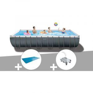 Intex Kit piscine tubulaire Ultra XTR Frame rectangulaire 7,32 x 3,66 x 1,32 m + Bâche à bulles + Robot nettoyeur