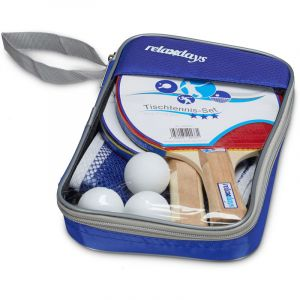 Relaxdays Set de ping-pong raquette filet balle de tennis de table pochette de rangement HxlxP: 26,0 x 16,5 x 3,7 cm bleu