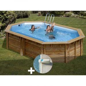 Sunbay Kit piscine bois Cannelle 5,51 x 3,51 x 1,19 m + Alarme