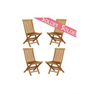 4 chaises de jardin pliantes en teck huilé