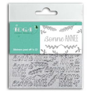 Toga Stickers Peel Off Bonne Année - Glitter argent - 2 planches