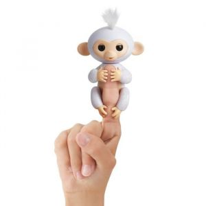 Wow wee Fingerlings Bébé singe ouistiti pailleté blanc