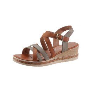Remonte Femme Sandales, Dame Sandale à lanières,Spartiates,Sandales Gladiator,Chaussures d'été,Confortables,Forest/Cayenne / 54,39 EU / 6 UK