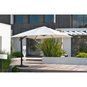 DCB Garden Parasol 4x3 m en aluminium avec pied excentré toile grise