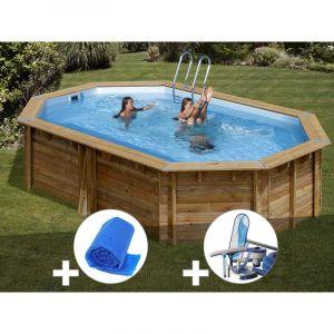 Sunbay Kit piscine bois Cannelle 5,51 x 3,51 x 1,19 m + Bâche à bulles + Kit d'entretien