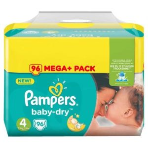 Pampers Baby Dry taille 4 (8-15 kg) - Mega+ Pack 96 couches