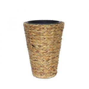 Pot de fleur rond en jacint d'eau tressée 30 x 30 x 40 cm Marron naturel clair