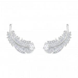 Swarovski Boucles d'oreilles 5482912 - Métal Rhodié Argenté Motifs Plumes Cristal Femme