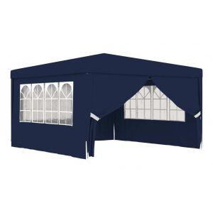 VidaXL Tente de réception avec parois latérales 4x4 m Bleu 90 g/m²