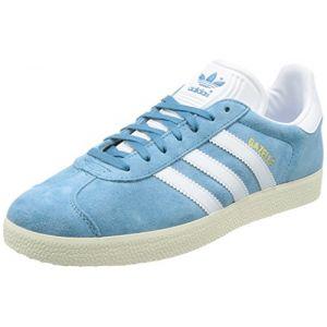 Adidas Gazelle, Baskets Basses Homme, Bleu (Tactile Steel/Footwear White/Gold Metallic), 42 2/3 EU