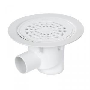 Nicoll SITARH - Siphon sol plastique avec grille PVC sortie horizontale Diam 50