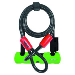 Abus Mini antivol en U Ultra 410 (140 mm, avec câble) - Noir/Vert