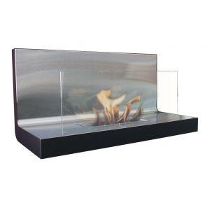 Purline Meduas - Cheminée murale en verre et inox
