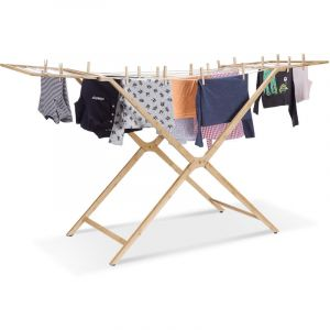 Relaxdays Séchoir à linge en bambou pliant 13 mètres étendoir en bois avec bras HxlxP: 101 x 184 x 60 cm, nature