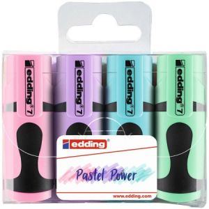 Edding 7 Mini-surligneur - couleurs pastel - étui de 4 surligneurs - pointe biseautée 1-3 mm - petits surligneurs aux couleurs tendance - pour les bullet journals, l'école, l'université ou le bureau