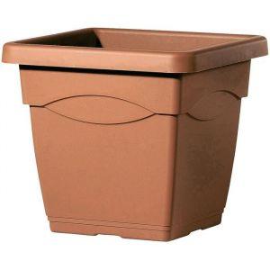 Deroma Pot Circéo Terre - 38x38x33,5 cm - 27,4L - Terre rouge - Plastique injecté - Résistant au gel, résistant aux UV, percé, recyclable - Usage : extérieur
