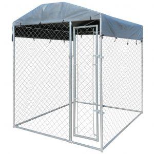 VidaXL Chenil extérieur pour chien avec toit en bâche 200 x 200 x 235 cm