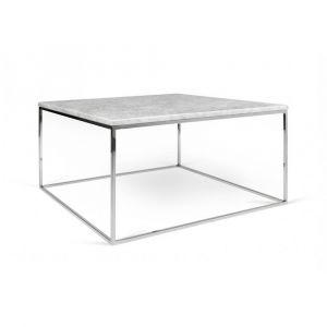 3bd9382865f611 Inside75 Table basse rectangulaire GLEAM 75 plateau en marbre blanc  structure chromée