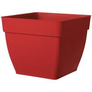 Deroma Pot de fleurs Ninféa à réserve d'eau - 29 x 29 x H 23,9 cm - 14,3 L - Rouge griotte - En polypropylène - Capacité : 14,3 L - 29 x 29 x 23,9 cm - Réserve d'eau - Recyclable - Rouge griotte