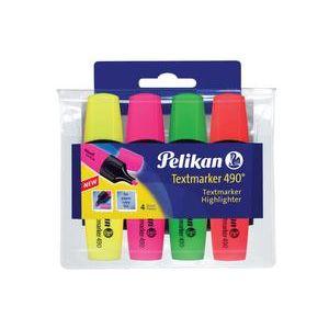 Pelikan 943324 - Etui de 4 surligneurs Textmarker 490, coloris assortis, pointe biseautée 1-5 mm