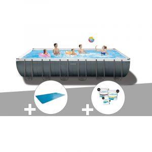 Intex Kit piscine tubulaire Ultra XTR Frame rectangulaire 7,32 x 3,66 x 1,32 m + Bâche à bulles + Kit de traitement au chlore
