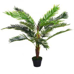 Outsunny Palmier artificiel hauteur 123 cm arbre artificiel décoration plastique fil de fer pot inclus vert