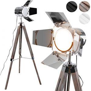 Jago Lampadaire Trépied - Type Projecteur de Cinéma, Hauteur Réglable, Bois et Métal, Classe Énergétique de A++ à E, LED, Rétro, Couleurs au Choix - Lampe sur Pied pour Salon